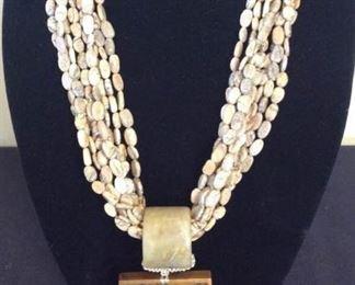 MLC008 Eight Strand Jasper Wood Carved Elephants Necklace
