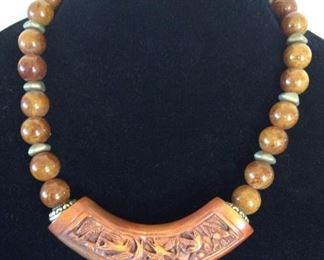 MLC009 Teak Wood Carved Pendant & Lucite Beads Necklace