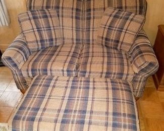 "Plaid loveseat with ottoman $75 (60"" wide)"
