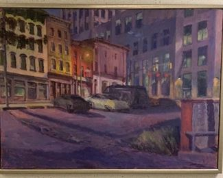 "Brett Busang, ""Downtown"", oil on canvas, painted 1999, purchased 2000, 51 x 38. http://brettbusang.com/"