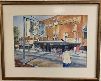 "Susan M. Stuller, ""Afternoon Matinee"", watercolor on paper, painted 1999, purchased 2000, 28 x 22.  Professionally framed with conservation glass.  http://www.susanstuller.com/"