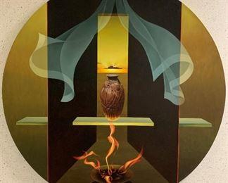 """Nancy Witt, """"J. V.'s Pot"""", oil on linen, painted 2000, purchased 2000, 43 diameter."""