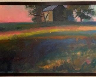 "Ryan Russell, ""Sunset Barn"", oil on canvas, painted 1999, purchased 2000, 69 x 33.  Please be aware of its grand size.  http://www.ryanmrussellart.com"