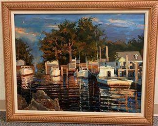 "Debby Souders, ""Virginia Bayside (Colonial Beach)"" oil on panel, painted 1999, purchased 2000, 42 x 34."