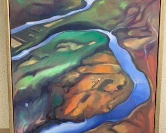 "Agnes Carbrey ""Jackson River II"", oil on canvas, painted 1999, purchased 2000, 35 x 43."