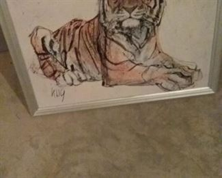 005 Vintage Painting of a Tiger by Fritz Rudolf Hug