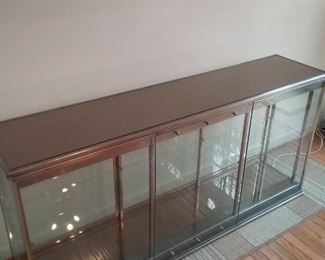 Brass, Chrome, and Glass Display Cabinet