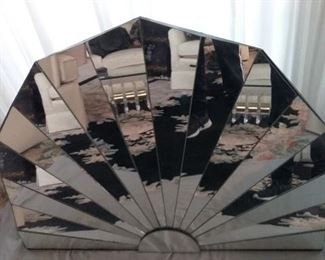 Fan Shaped Mirror with Easel Back