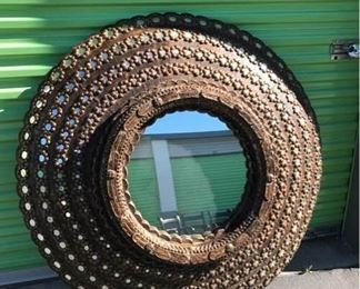 Ornamental Round Mirror with Wood Frame