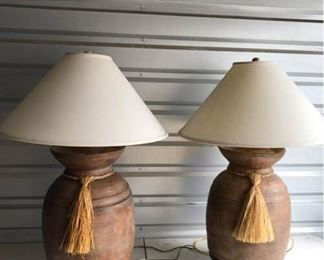 Pair of Clay Lamps on Metal Stands