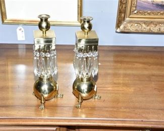 3. Pr of Unusual Victorian Brass Candlesticks