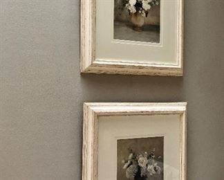 "$30 Pair of floral pictures in pickled wood frame 18.75""H, 16.5""W"