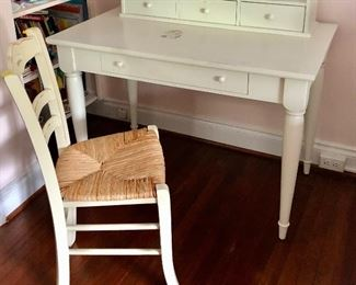 "$200 Paint me!! White painted wood desk (damage on top) (29.5""H, 24""D, 42""L), white painted wood writing hutch with three drawers (10.5""H, 7""D, 35""L) and white painted wood chair with rush seat 35""H, 14.5""D, 16.25""W"