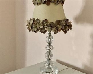 "$60 Glass lamp with embellished floral shade 18.5""H"