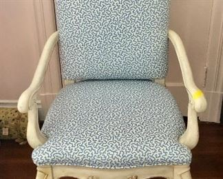 "$120 French provincial style chair with blue and white fabric 38.5""H, 21""D, 24""W"