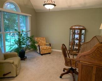 """#1Rocker recliner $60.00  #2Antique rocker $40.00  #3Lighted oak curved cabinet with key 32""""x13""""x62"""" $75.00  #4Oak roll top desk 54""""x27""""x48"""" $125.00  #5Oak rolling adjustable desk chair $35.00"""