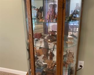 """#3Lighted oak curved cabinet with key 32""""x13""""x62"""" $75.00"""