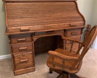 """#4Oak roll top desk 54""""x27""""x48"""" $125.00  #5Oak rolling adjustable desk chair $35.00"""