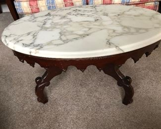 Victorian oval marble top coffee table