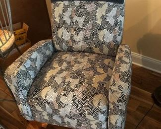 Fun Accent Chair with Gray/Black Swirls