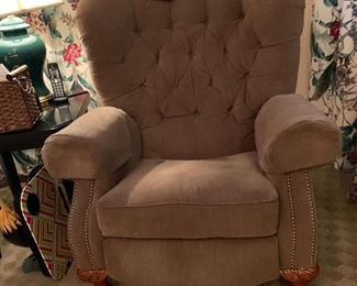 Overstuffed recliner