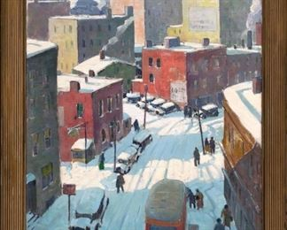 """Carl Peters (American, 1897-1980) """"Elm Street, Rochester, NY"""""""