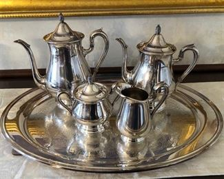"Reed & Barton ""Jamestown"" silverplated coffee/tea service - $90"