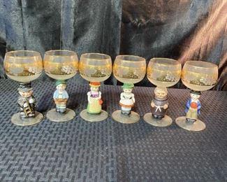 Set of 6 Antique Goebell Hummel golf etched wine glasses