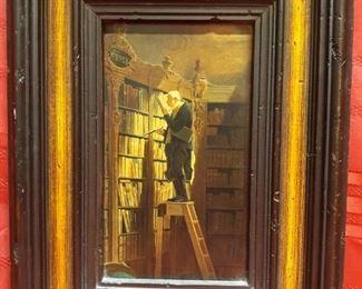 The bookworm original oil on canvas by Carl Spitzweg