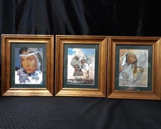 3 framed dufex foil art prints of native American figures by Gary Ampel