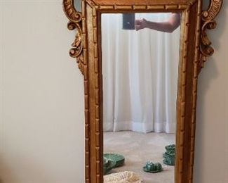 "$40 - Item #2:  Vintage fiberglass frame mirror, light weight for hanging, 46"" high"