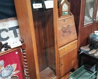 Oak Secretary / Desk / Bookshelf or Curio Cabinet $137.50