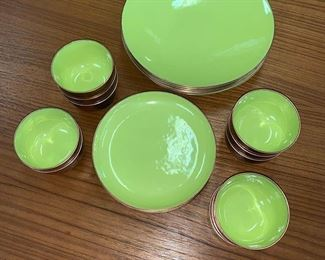 Lime Green Enamel & Copper Dinnerware by Marrell, discounted price now $137.50  ***Please note:  California sales tax will be charged on all purchases unless you have a valid California resale certificate on file with us.***