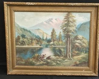 """Framed original landscape painting, 28.5"""" w x 23"""" h - discounted price now $87.50 ***Please note:  California sales tax will be charged on all purchases unless you have a valid California resale certificate on file with us.***"""