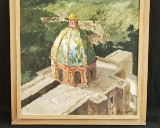 """Framed original Raymond W. Witt painting, Domo (casein), 28"""" w x 28"""" h - discounted price now $87.50 ***Please note:  California sales tax will be charged on all purchases unless you have a valid California resale certificate on file with us.***"""