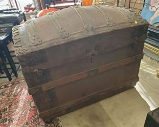 """Antique humpback trunk (36"""" w x 28""""h x 22"""" d) - discounted price now $112.50 ***Please note:  California sales tax will be charged on all purchases unless you have a valid California resale certificate on file with us.***"""