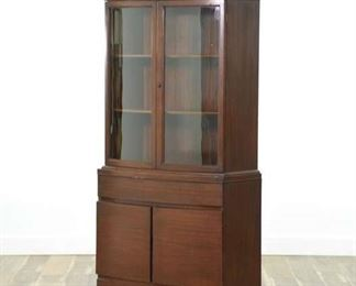 Mid Century Modern China Hutch W Curved Glass Doors