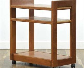 Vintage Danish Modern Library Cart Media Shelf