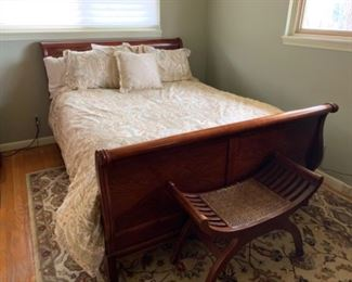"""Drexel Studio Queen sleigh bed (footboard - 63.5""""W x 33.5""""T) (63.5""""W x 44.5""""T) - $650 or best offer Cane Bench is SOLD."""