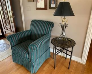 """Ethan Allen armchair (28""""D x 33.5""""W x 37""""T) -  Lamp (33""""T) - $400 or best offer Metal Table (21""""W x 24""""T) - $100 or best offer"""