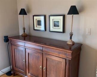 "Ethan Allen sideboard (63""W x 19""D x 40""T) - $950 or best offer 2 lamps (26""T) - SOLD Framed pewabic tile art (14.5"" x 14.5"") - SOLD"