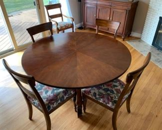 """Ethan Allen dining table with one 20"""" leaf, 6 side chairs, 2 armchairs. Includes custom table pads (56""""W x 30""""T) - $1500 or best offer"""