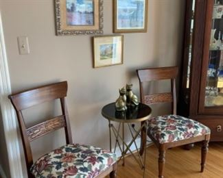 """Ethan Allen dining side chairs (see previous image for details)  Granite top claw foot side table (17""""W x 27""""T) - $200 or best offer"""