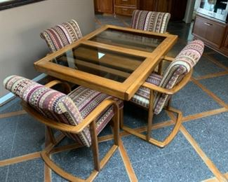 """Glass top dining table with 20"""" leaf and 4 armchairs (48""""W x 37""""D x 29""""T) - $250 or best offer"""