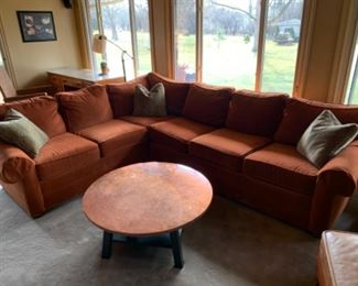 """Ethan Allen sectional (113"""" W x 38""""D x 30""""T - 86"""" return) - $1750 or best offer Copper top table (36""""W x 16""""T) - $50 or best offer"""
