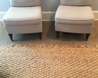 """Slipper chairs (21.5"""" W x 25""""D x 28""""H) - $150/each or best offer Jute rug (2 available) (7ft x 9ft) - SOLD"""