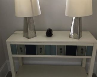"""Sofa table (42""""W x 14""""D x 30""""T) - $250 or best offer. Lamps - $50/each or best offer"""