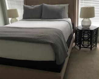 Queen Safavieh upholstered bed - $750 or best offer
