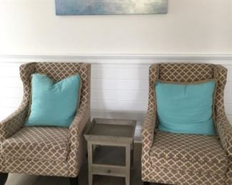 """Custom upholstered wing back chairs (28""""W x 23""""D x 40""""T) - $300/each or best offer Side table (16""""W x 17""""D x 20""""T) - $75 or best offer"""