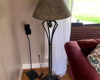 """Heavy wrought iron lamp (62""""T) - $125 or best offer"""